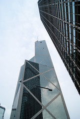 Towering modern skycrapers in Hong Kong
