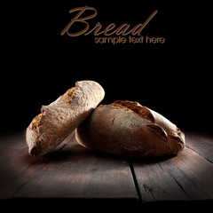 bread on dark table