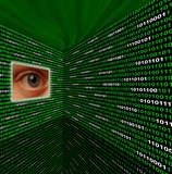 Spyware eye scanning binary code poster