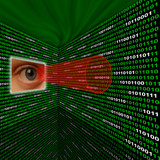 Spyware eye scanning binary code with red sightline poster
