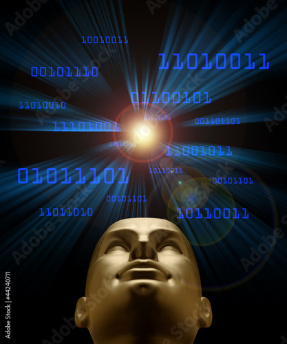 Artifical intelligence as symbolized by blue binary code flying
