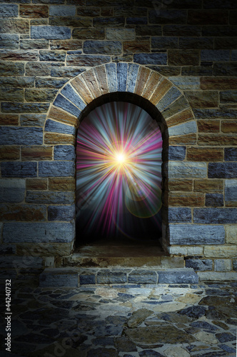 Magical vortex in a stone arch doorway