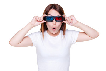 amazed girl in stereo glasses