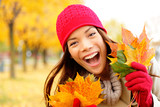 Excited happy fall woman
