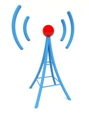 Blue antenna isolated on white