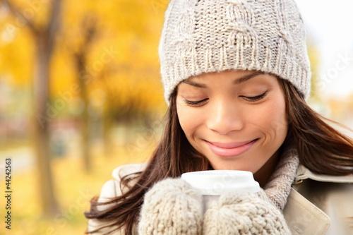Fall woman drinking coffee