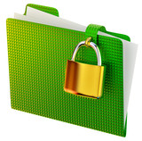 green folder with lock