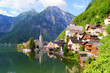 Lake side view of Hallstatt village with Alps, Austria