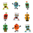 set of cute vector retro robots