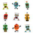 set of cute vector retro robots