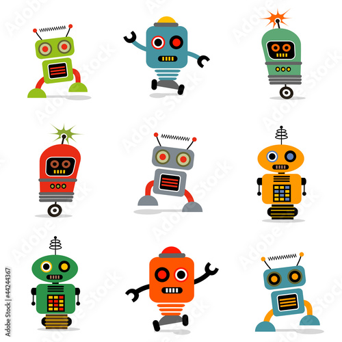 Deurstickers Robots set of cute vector retro robots