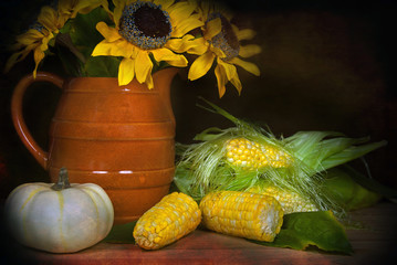 sunflowers with corn