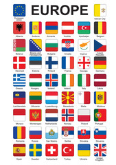 set of push buttons with flags of Europe vector illustration