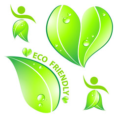 Set of Eco friendly concept  Vector illustration