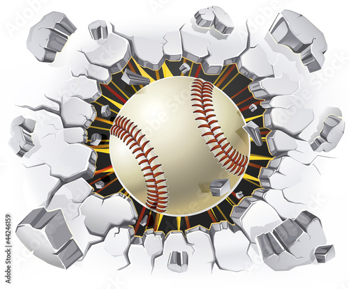 Baseball and Old Plaster wall damage. Vector illustration