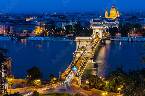 Szechenyi Chain Bridge and Danube river, Budapest
