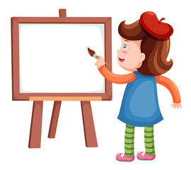 Girl painting blank whiteboard