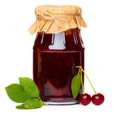 Cherry jam jar isolated on white