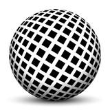 Fototapety Kugel, 3D - optische Täuschung, Linien, Mathematik, Illusion