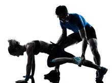 Mann Frau Ausübung Beine Workout Fitness