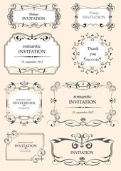Collection of ornate vector frames and ornaments with sample tex