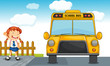 school bus and girl
