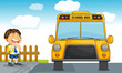 school bus and boy