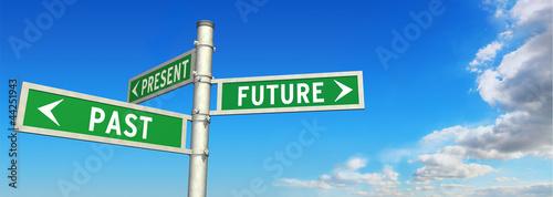 Leinwandbild Motiv signpost PAST, PRESENT & FUTURE