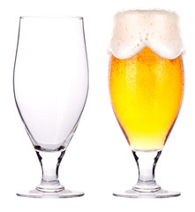 Beer glasses. full and empty isolated