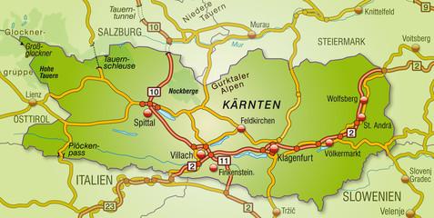 Autobahnkarte von Kärnten mit Umland