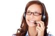 lächelnde frau telefoniert mit headset