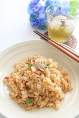 Japanese mushroom Pilaf and iced green tea