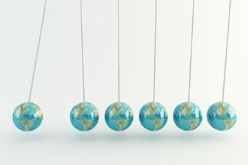 Newton cradle earth globe
