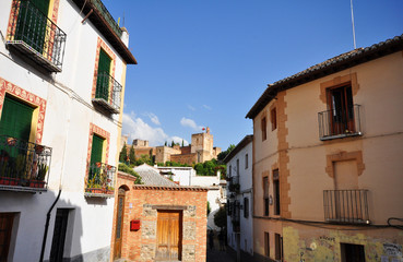 view on Alhambra from Albaycin, Granada, Spain