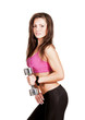 brunette girl with dumbbells