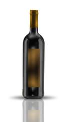 bottiglia vino rosso su bianco