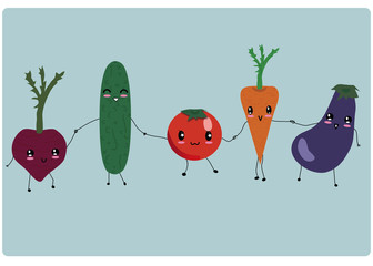 Happy cute vegetables walking together