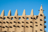 Detail of the Great Mosque of Djenne, Mali, Africa.