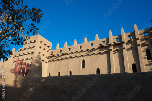 The back of the Great Mosque of Djenne, Mali, Africa.
