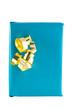 Ein blaues Geschenk mit goldener Dekoration