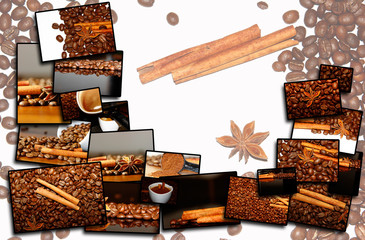 collage background of coffee motives