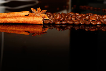 background of coffee, star anise, cinnamon