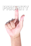 Hand touching priority poster
