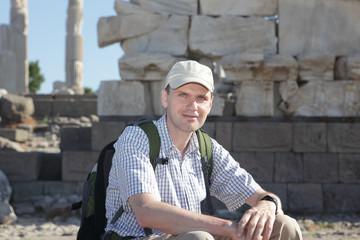 Tourist in ancient city Pergamon