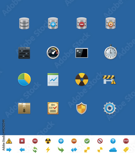Vector common website icons. Database