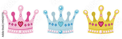 set crowns for princess, pink, blue and gold - 44262775
