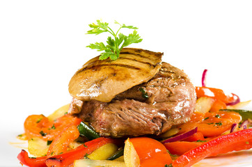 meat and pork liver with sauteed vegetables