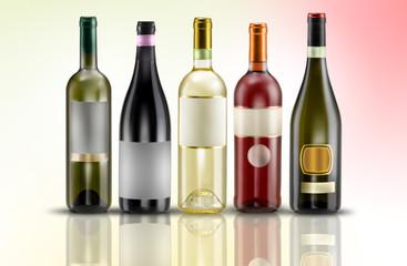 composizione vino varie su sfondo colore