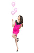 Young full body woman with pink balloons