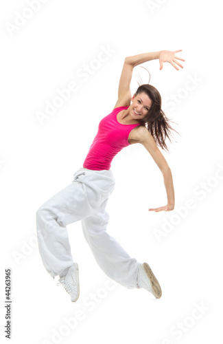 modern slim hip-hop style woman dancer break dancing